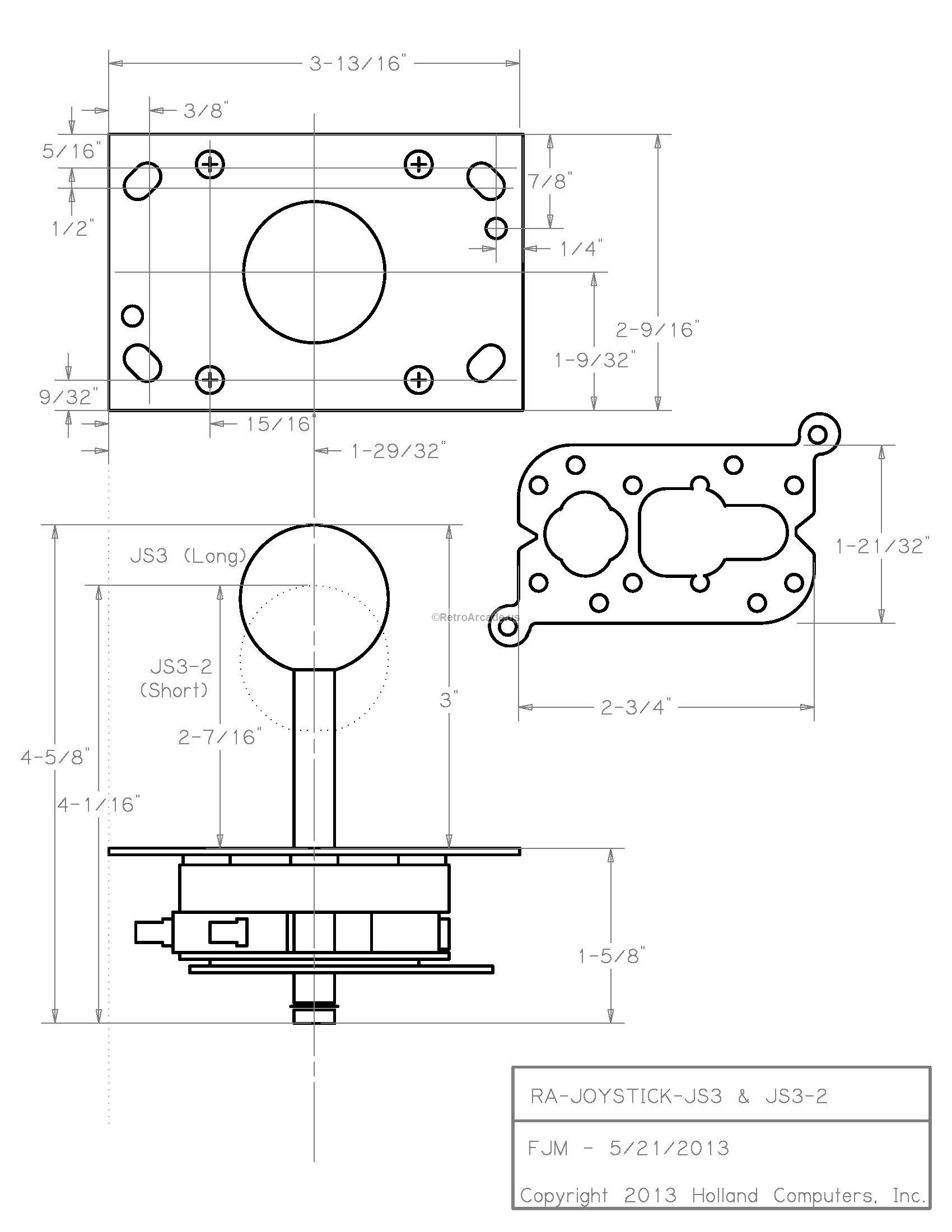 Arcade Joystick Switchable from 8-way to 4-way operation JS3-2 ...